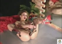 PLaatje van Eendenbek met biljartballen in haar kont
