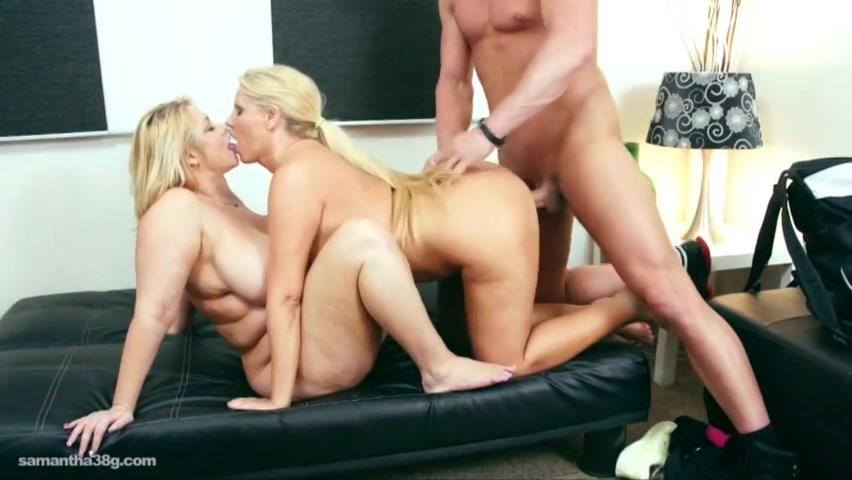 PLaatje van Twee BBW blondjes slobberen samen aan zijn dikke pik